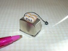 Miniature Silver Toaster w/Cinnamon Bread for DOLLHOUSE Miniatures 1/12 Scale