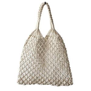White Women Straw Bag Cotton Rope Travel Beach Fishing Net Handbag  Shoulder Bag