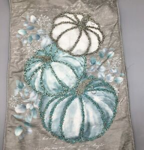 Rachel Zoe Beaded Pumpkin Table Runner Gray Teal Silver Blue Thanksgiving 16x72