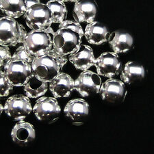 Loose Spacer Beads Silver Plated Glossy Round Ball Hole 3mm-200Pcs Supplies Hot