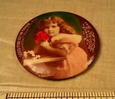 Old yg GIRL Advertising Victorian GOOD FOR 10 CENTS Trade Token Pocket Mirror WI