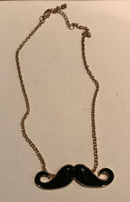 Black and Gold Moustache Chain Necklace