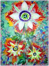 Original Signed PUKSAR Fine Art Abstract Painting PASSION FLOWERS Apres Van Gogh