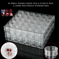 2X Clear Plastic Jewelry Bead Storage Rectangle Box 30Small Round Container Jars