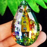 45x28x13mm Carved Rainbow Titanium Crystal Teardrop Pendant Bead S201975