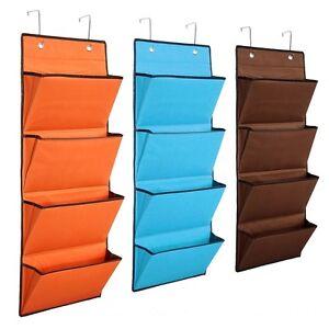 4 Tier Over The Door Hanging & Hook Organiser Storage Pocket Clothes Wardrobe