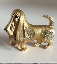 Vintage Signed Boucher Basset Hound Brooch Rhinestone Pin Goldtone Dog