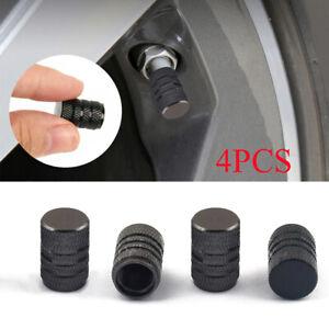 Aluminium Black Car Tyre Valve Stems Air Dust Cover Screw Cap Accessories x4