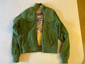 Billabong Green Corduroy Women's Bomber Style Jacket Fits Size S