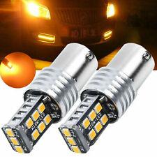2pcs 1157 Amber BAY15D 15 SMD 2835 LED 12V Car Light Tail Turn signal N-polar