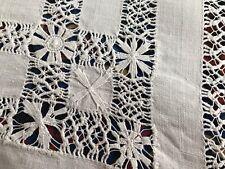 Antique White Linen Petit Point Lace Drawn Thread Lace Runner
