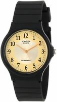 Casio MQ24-9B3 Men's Black Resin Strap Gold Easy Reader Dial Casual Analog Watch