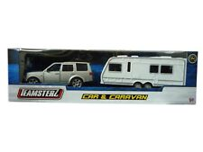 Silver Car & Caravan Toy Play Set From Teamsterz Touring Caravan Toy Brand New