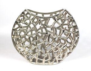Deko Vase Oval Nickel  Silberfarben Designvase Abstrakt Dekoration Skulptur