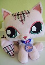 "LITTLEST PET SHOP Plush Cat Kitty 9"" Stuffed Animal Pink Plaid Long Tail"