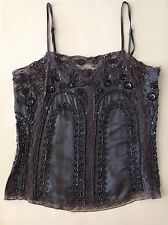 **CHRISTMAS PARTY** PINK SODA SILK AND BEADED CAMI, CHARCOAL GREY, SIZE XS