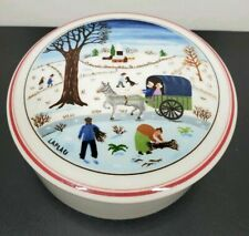 "4"" Candy Dish w/lid, Villeroy & Boch, winter scene by Gerard Laplau, Luxembourg"