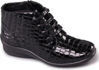 Padders TANYA Ladies Womens Leather E/EE Wide Fit Ankle Boots Patent Black Croc