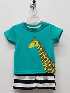 Boys Animal Giraffe Size 2 PJ Set Kids Summer Comfy T-Shirt Short Top TV161 Jade