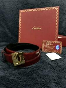 CARTIER men's Belt 2C logo buckle Bordeaux Leather with Box Made in France