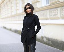 HELMUT LANG sonar belted wool trench cardigan coat jacket - black Large L