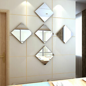 32X Mirror Tiles Self Adhesive Back Square Bathroom Decor Wall Stickers Mosaic