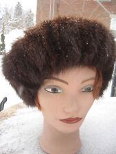 "#A10  fit size 24"" 25""inches unisex beret beanie muskrat fur hat brown"