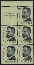 1969 AUSTRALIAN PRIME MINISTERS WATSON BOOKLET PANE 5 x 5c + TAB MUH