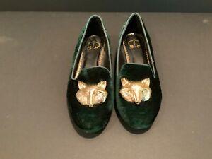 C Wonder Gold FOX Green Velvet Loafers shoes Women's 7.5