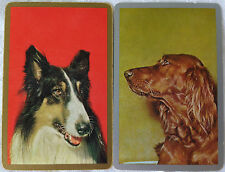 VINTAGE - SWAP/PLAYING CARDS x 2 DOGS SHETLAND COLLIE & RED SETTER C.1960's.