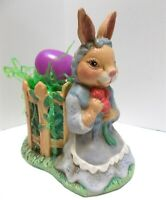 Easter Decor Ceramic Mrs Bunny Rabbit with Floral Bouquet Planter Garden Fence