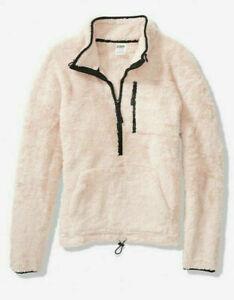 Victoria's Secret PINK TEDDY HALF - ZIP COZY PULLOVER SWEATSHIRT size S