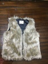 Old Navy Girls FAUX VEST Large 10-12 Brown Open Front Sleeveless EUC