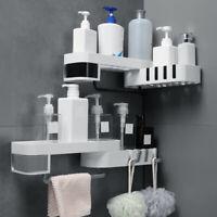Wall Mounted Bathroom Kitchen Corner Organizer Shelf Holder Rotatable Storage H4