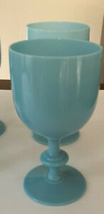 """Vintage Portieux Vallerysthal French Opaline Blue 6.5"""" Water Goblets, Set of 2"""