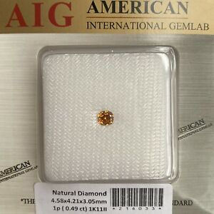 Fancy VIVID Orange Yellow Diamond 0.49ct SI2 AIG Certified UNTREATED Cushion Cut