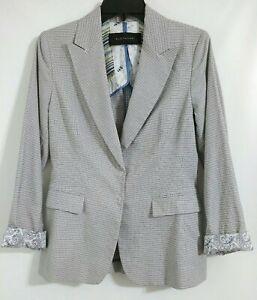 Elie Tahari Jacket Blazer Roll Up Cuff Sleeve Size US 8 Blue Snap Front Womens