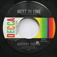 Country Nm! 45 Conway Twitty - Next In Line / I'M Checking Out On Decca