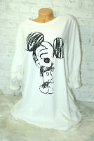 Italy Long Puder Vintage Shirt Gr. 36 38 40 42 Oversized weiß Mickey Mouse