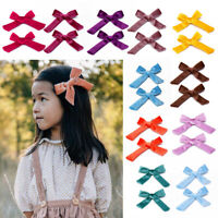 2Pcs Baby Girls Hair Bow Clips Velvet Knot Hairpins Kids Hairgrips Accessories -