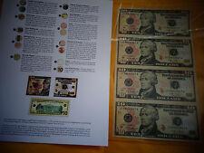 UNCUT SHEET  $10 X4 Legal USA $TEN  DOLLAR BILLS-Real Currency /RARE GIFT  Money