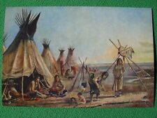 Charles Russell Western Art American Indians at Camp Teepees Children Vintage A+