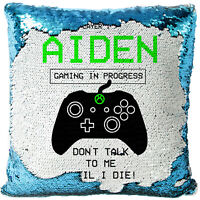 Personalised Gamer Sequin Cushion PS Cover Magic Xbox Reveal Boys Christmas Gift