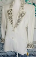 NWT SOLINI New York Women's Size 6 White Embroidered Button Front Blazer Jacket