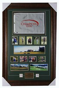 Greg Norman Signed Champions Tour Pin Flag with Frame