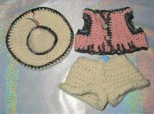 """TROLL CLOTHES / Fits 8-9"""" Dolls PANTS SHIRT SOMBRERO OUTFIT straw hat farmer new"""