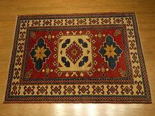 3.6 x 5.6  Handmade Fine Quality Veggie Dye Hand Spun Fine Wool Afghan Kazak Rug