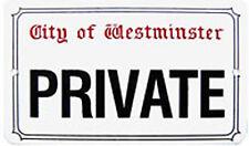 Private (City Of Westminster) Mittlere Größe Emaille Schild 21cm X 16cm ( Gg )