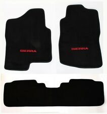 NEW! BLACK Floor Mats 2007-2013 GMC Sierra Embroidered Logo in Red Crew Cab 3pc