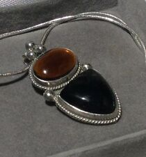 Vintage CARSI MEXICO Artisan AMBER & ONYX 925SS Rope Edge Pendant Necklace 20""